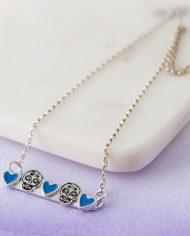 blue sugar skull necklace