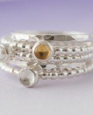 LSS_beaded birthstone stacking ring-301