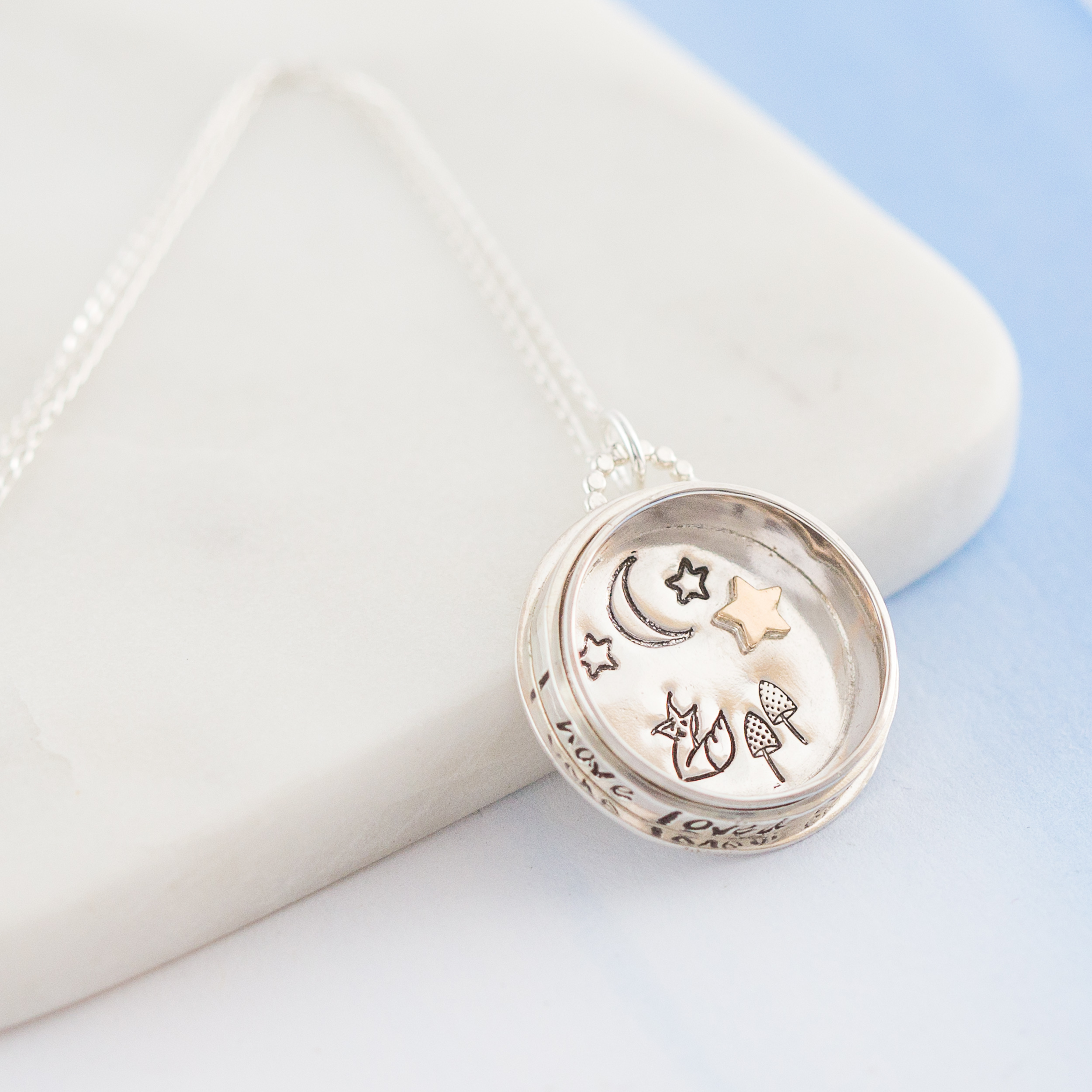 Personalised starry foxes spinning compass pendant little silver 12500 our beautiful starry foxes spinning compass pendant mozeypictures Gallery