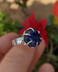 blue goldstone doublet claw ring 2